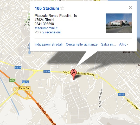 105 Stadium Rimini da google maps